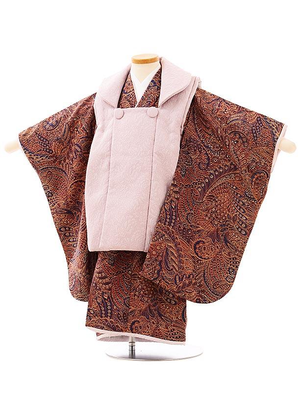 七五三レンタル(3歳女児被布)3966パープルx赤紫更紗模様