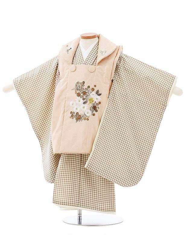 七五三(3歳女児被布)3978KamiShibai ベージュxグレージュチェック