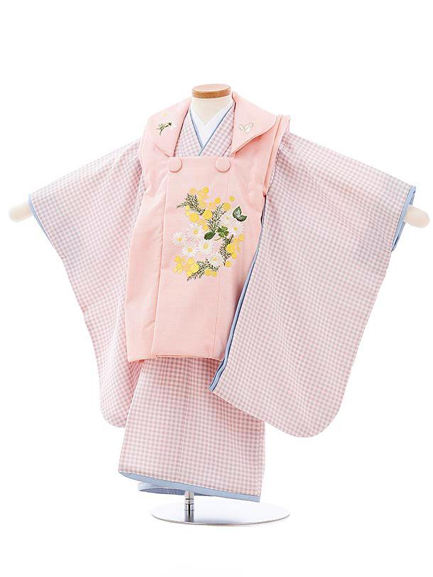 七五三(3歳女児被布)3979KamiShibai ピンクxすみれ色チェック