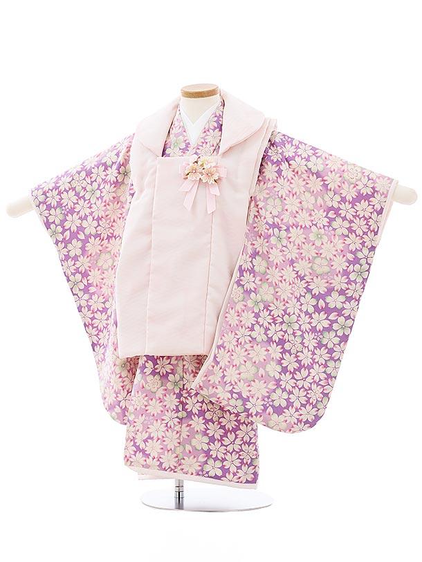 七五三レンタル(3歳女児被布)3980華徒然 ピンクxパープル桜づくし