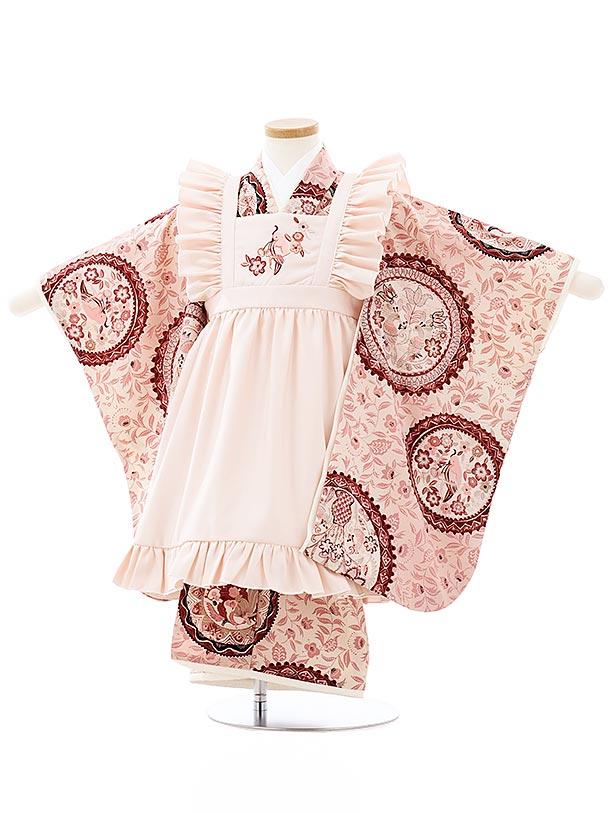 七五三レンタル(3歳女児被布)3985九重 ピンクエプロンxピンク更紗