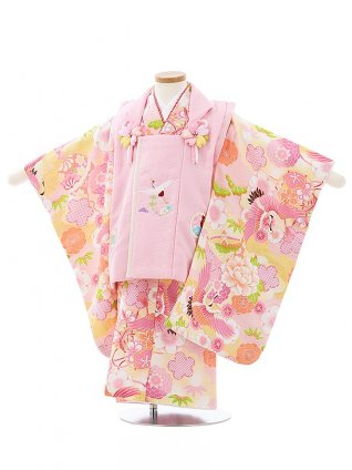 七五三レンタル(3歳女児被布)3990式部浪漫 ピンクxピンク雲取り鶴