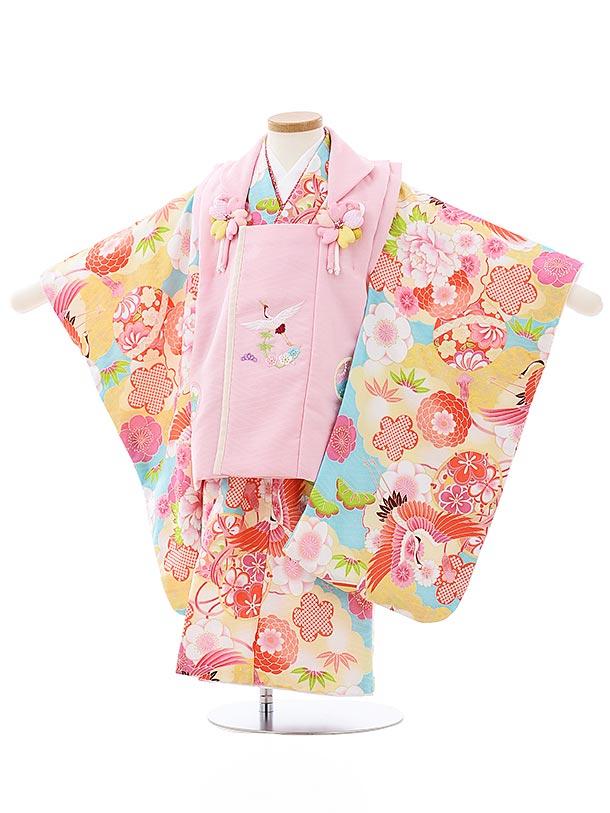 七五三レンタル(3歳女児被布)3991式部浪漫 ピンクx水色雲取り鶴