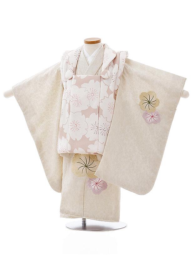 七五三レンタル(3歳女児被布)3994ベージュ桜xうすベージュ刺繍桜