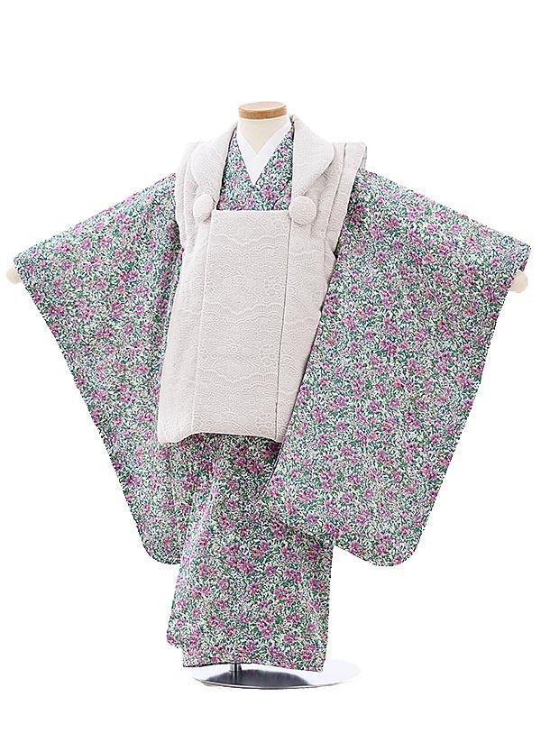 七五三レンタル(3歳女児被布)3998ベージュレースx白地ピンク花