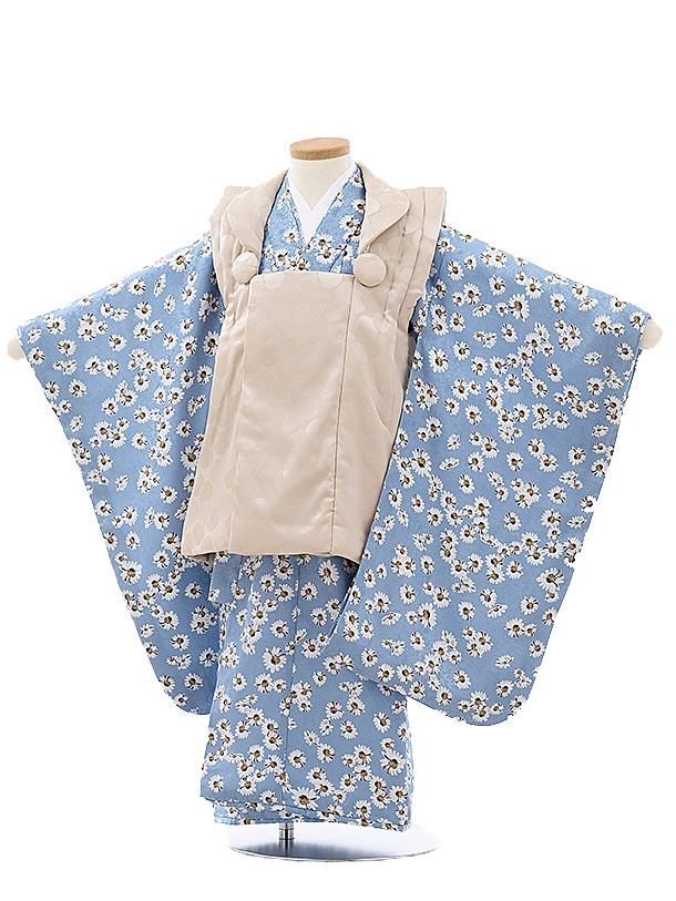 七五三レンタル(3歳女児被布)4000ベージュx水色小花