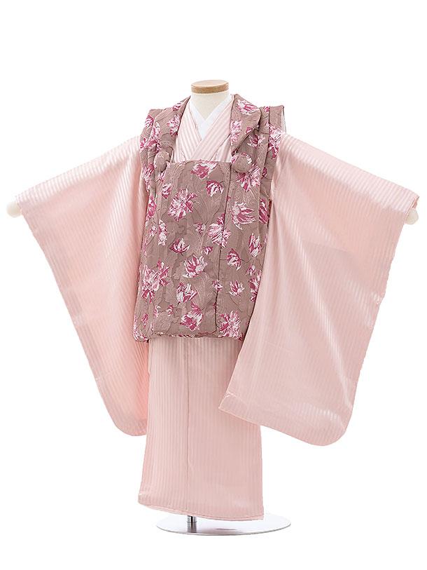 七五三レンタル(3歳女児被布)4001あづき色花xピンクストライプ柄
