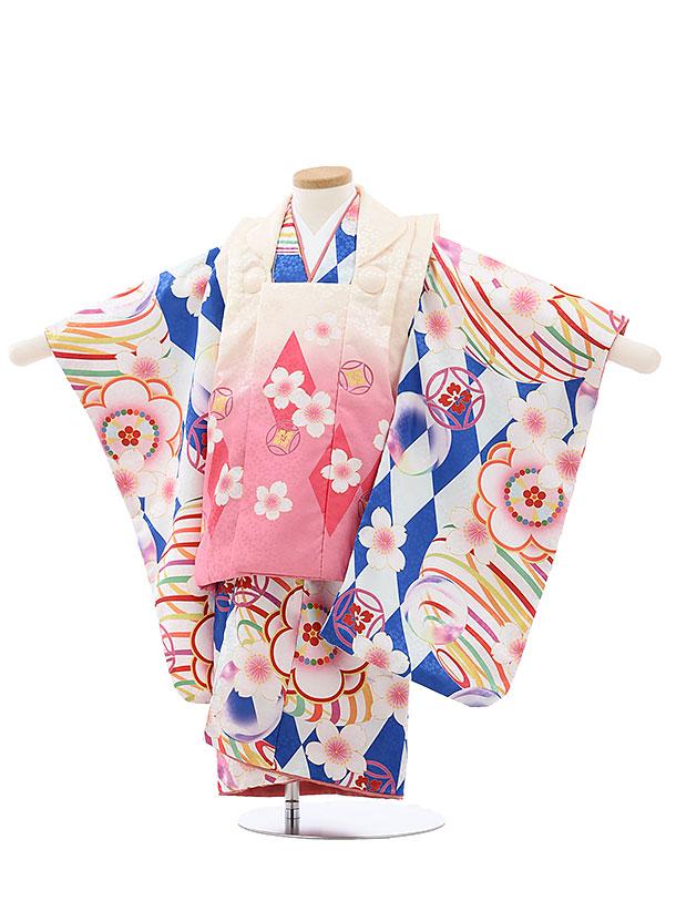 七五三レンタル(3歳女児被布)4006うす黄ピンクぼかし桜x青ダイヤ梅桜