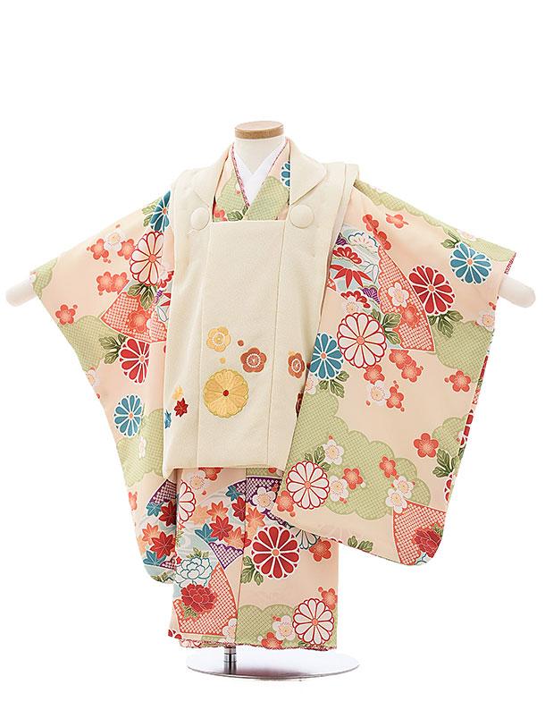 七五三レンタル(3歳女児被布)4007 蒼 オフホワイト刺繍菊梅xベージュ古典花