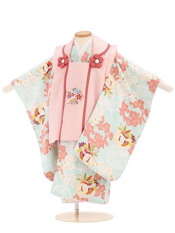七五三レンタル(3歳女児被布)4011ピンク刺繍花x水色梅鶴紋