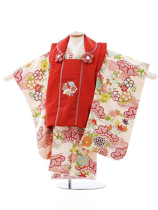 七五三レンタル(3歳女児被布)4012赤刺繍花xクリーム古典花