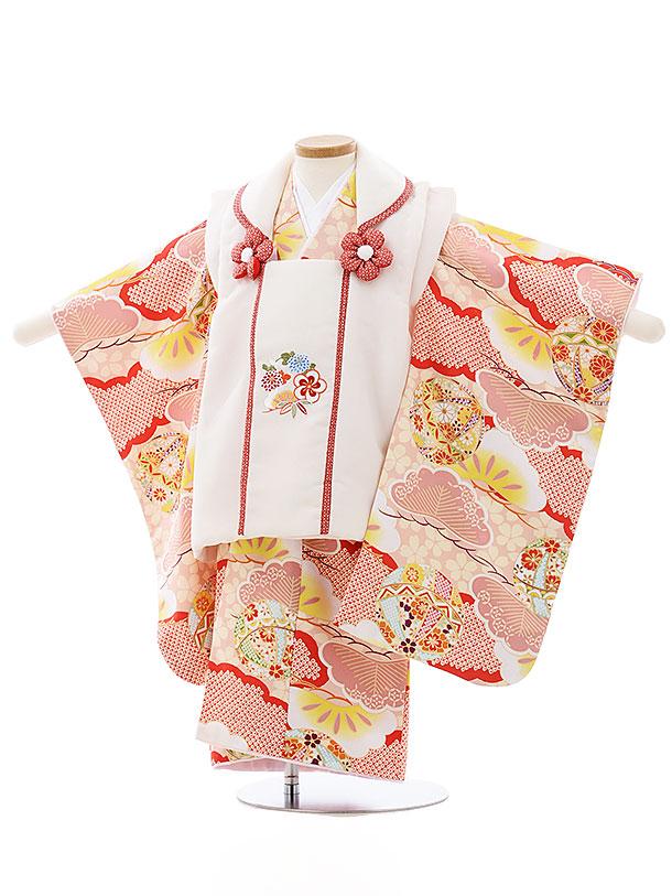 七五三レンタル(3歳女児被布)4013白刺繍花xピンク雲取りまり