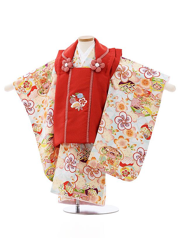 七五三レンタル(3歳女児被布)4014赤刺繍花x水色ねじり梅貝桶