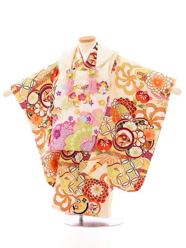 七五三レンタル(3歳女児被布)4015オフホワイト桜xオフホワイト古典花