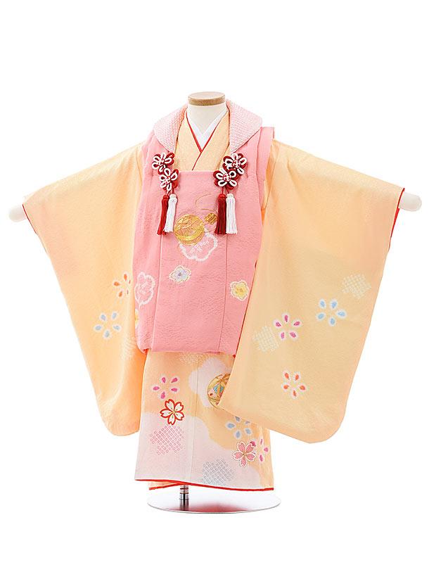 七五三レンタル(3歳女児被布)4027【正絹】ピンク刺繍まりx淡オレンジまり桜