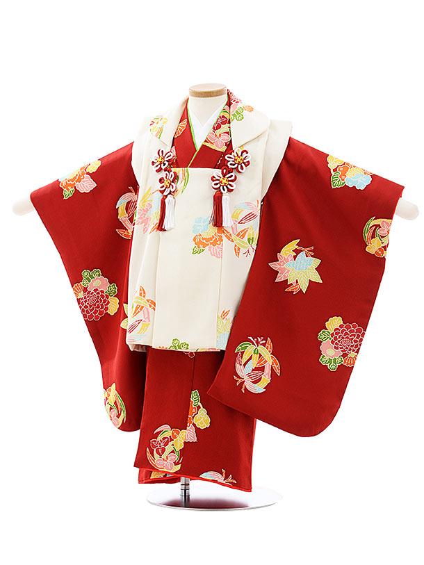七五三レンタル(3歳女児被布)4034【高級正絹】白x赤小紋花丸