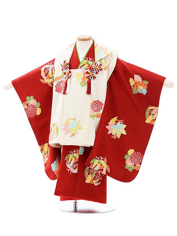 七五三レンタル(3歳女児被布)4035【高級正絹】白x赤小紋花丸