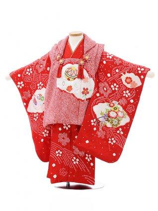 七五三レンタル(3歳女児被布)4036【正絹】赤絞りまり刺繍桜