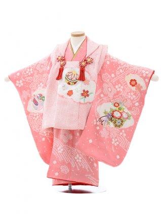 七五三レンタル(3歳女児被布)4037【正絹】ピンク絞りまり刺繍桜