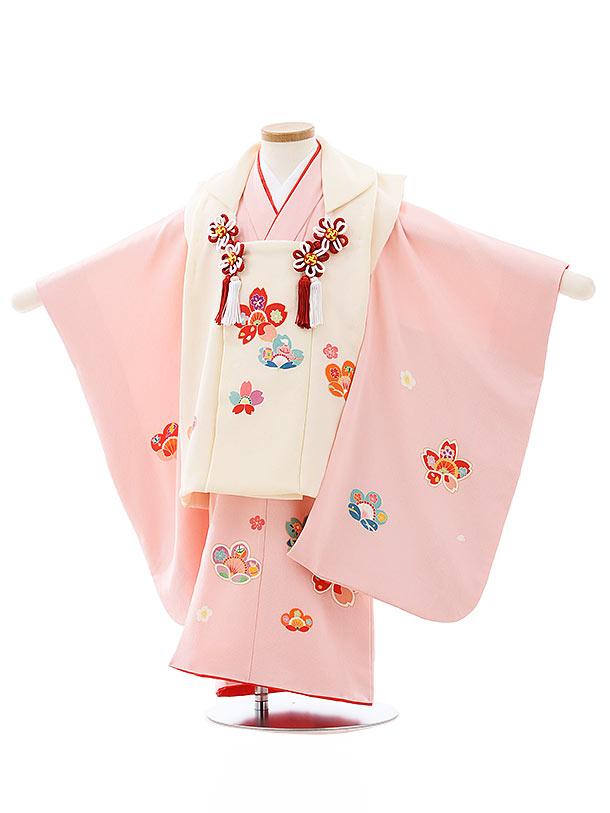 七五三レンタル(3歳女児被布)4039【正絹】クリームxピンク梅桜