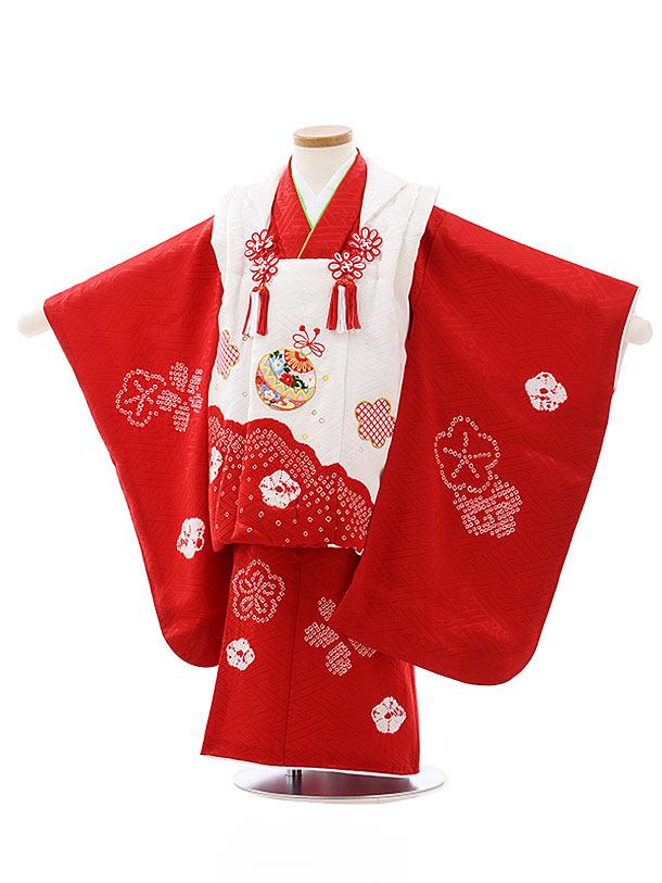 七五三レンタル(3歳女児被布)4040【正絹】白赤刺繍まりx赤絞り梅