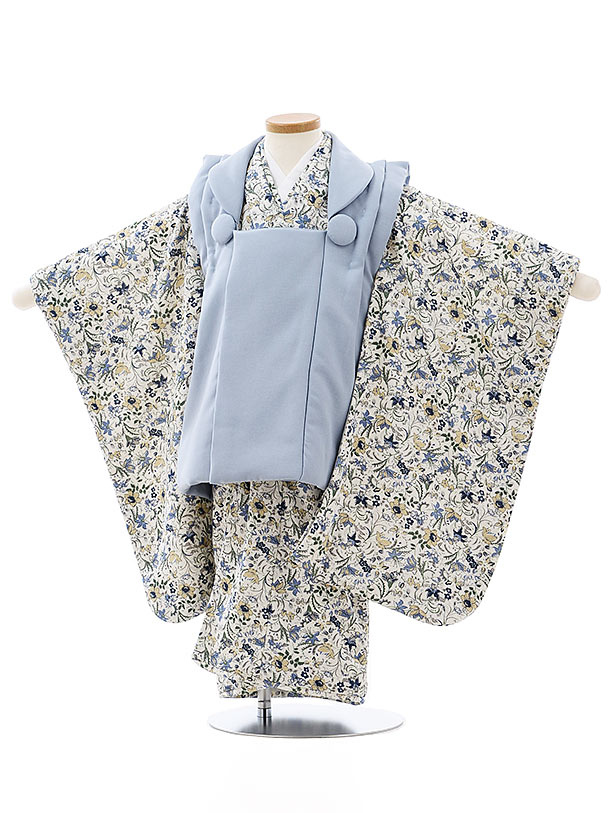 七五三レンタル(3歳女児被布)4046ブルーグレーx白地ブルー小花