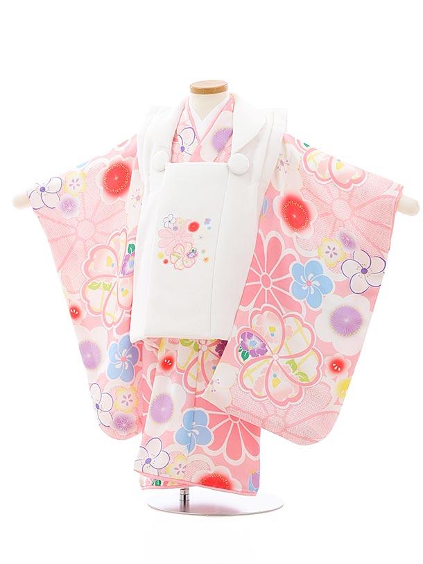 七五三レンタル(3歳女児被布)4056 白xピンク桜菊梅