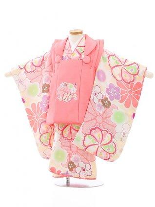 七五三レンタル(3歳女児被布)4057ピンク×クリーム桜菊梅