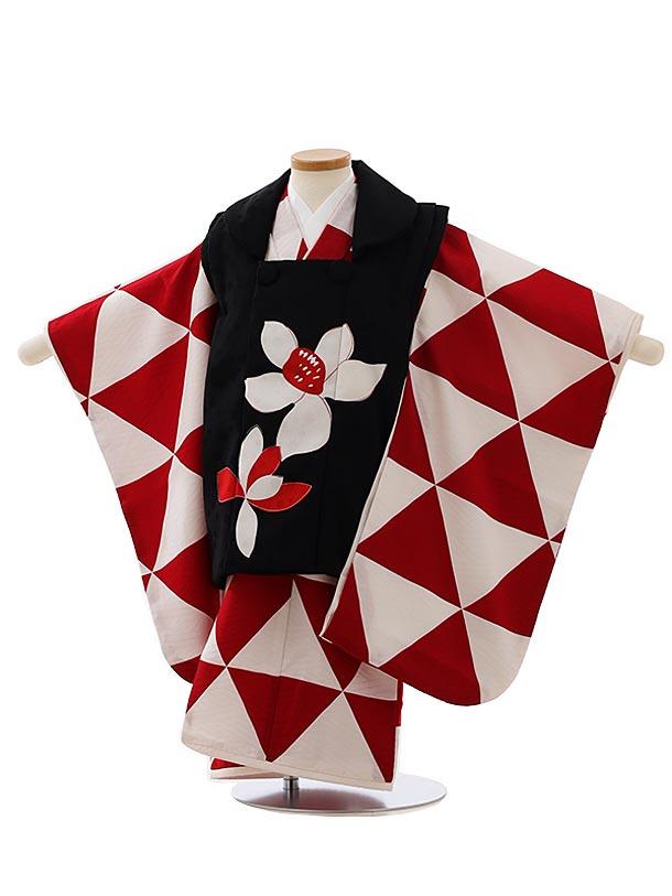 七五三レンタル(3歳女児被布)4060黒大花x白赤幾何学模様