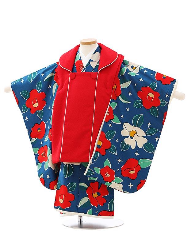 七五三レンタル(3歳女児被布)4061九重赤xインディゴブルー椿