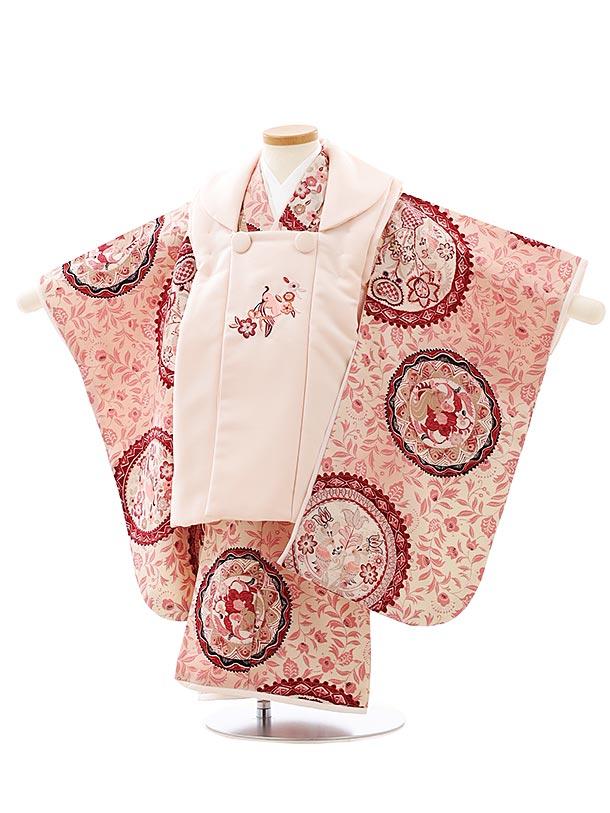 七五三レンタル(3歳女児被布)4062九重 ピンク小鳥x ピンク更紗