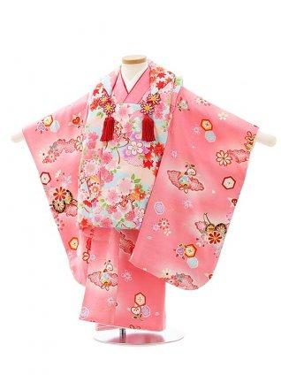 七五三レンタル(3歳女児被布)4065【正絹】水色小紋桜xピンク地花車