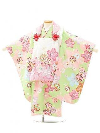 七五三レンタル(3歳女児被布)4078白ピンクぼかし桜xきみどり桜まり