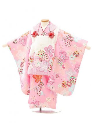 七五三レンタル(3歳女児被布)4079白ピンクぼかし桜xピンク桜まり