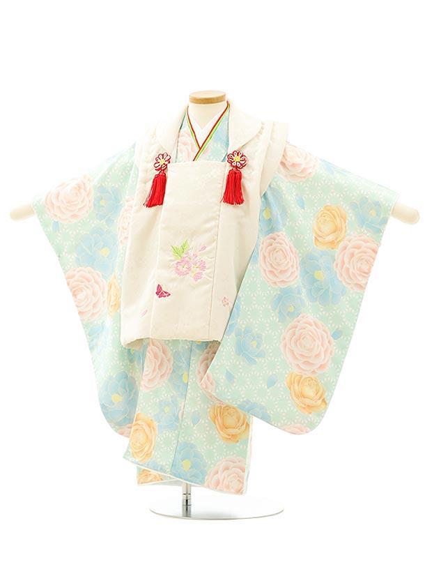 七五三レンタル(3歳女児被布)4081白桜蝶刺繍xうすグリーン花