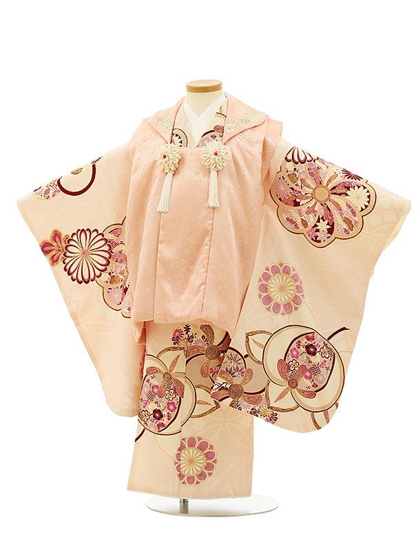 七五三(3歳女被布)4085 正絹 紅一点 ピンク×ピンクねじり梅
