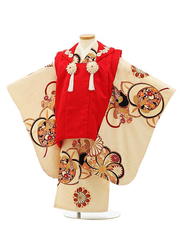 七五三(3歳女被布)4087 正絹 紅一点 赤×アイボリーねじり梅