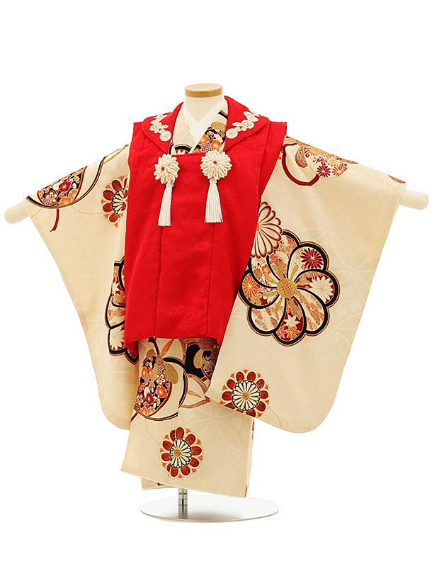 七五三(3歳女被布)4088 正絹 紅一点 赤×アイボリーねじり梅
