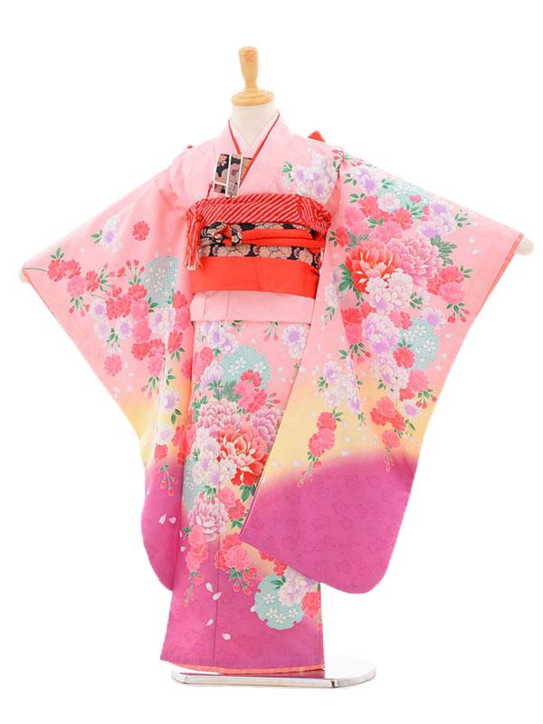 753レンタル(7歳女結び帯)7119 ピンク×紫花
