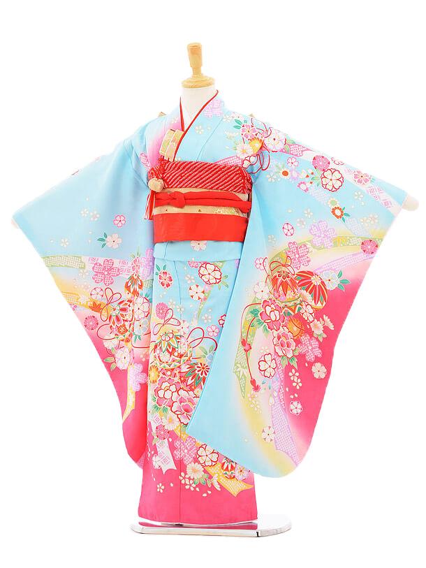 753レンタル(7歳女結び帯)7124 水色ピンクぼ