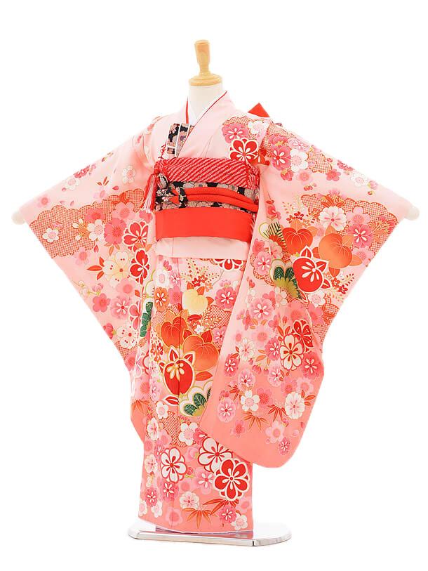753レンタル(7歳女結び帯)7131 ピンク地花橘