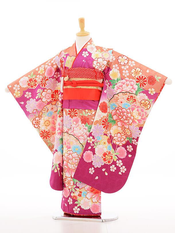 753レンタル(7歳女結び帯)7134 紫ラメ花