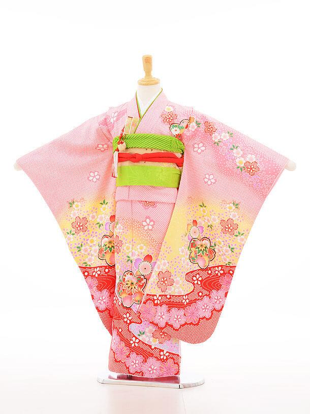 753レンタル(7歳女結び帯)7137 ピンクしぼり