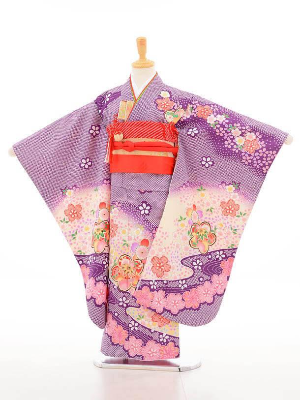 753レンタル(7歳女結び帯)7138 紫しぼり柄