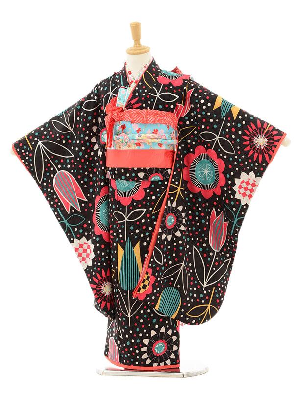 七五三レンタル(7歳女の子結び帯)7150 モダンアンテナ 黒赤