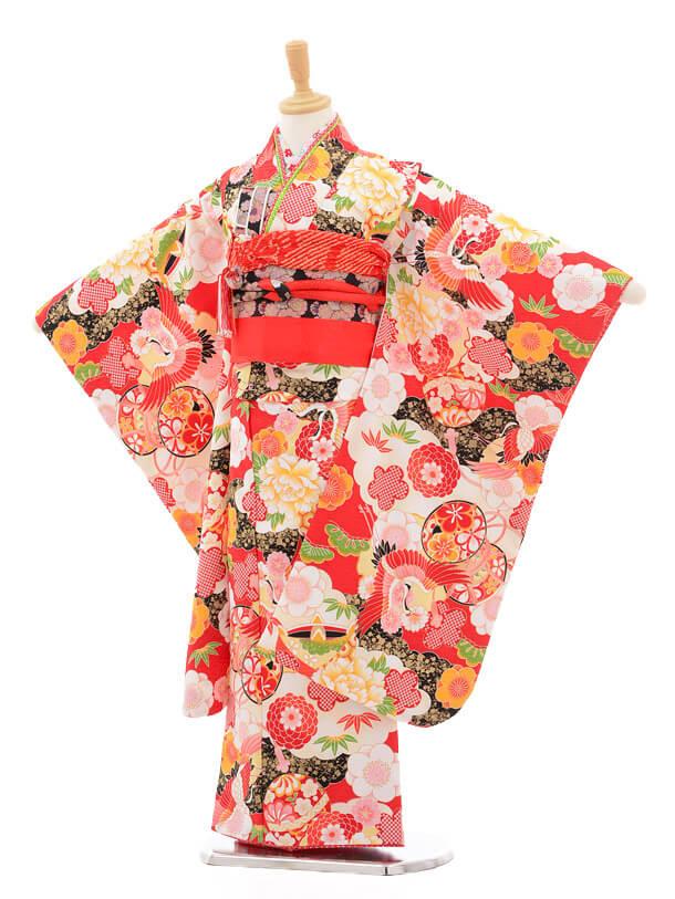 七五三レンタル(7歳女の子結び帯)7161 式部浪漫 赤地鶴