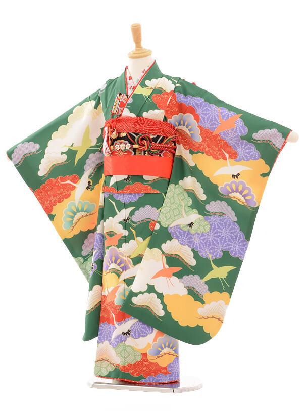 七五三レンタル(7歳女の子結び帯)7175 花わらべ 鶴/グリー