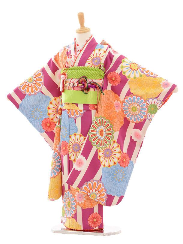 七五三レンタル(7歳女の子結び帯)7176 花わらべ 縞に紋
