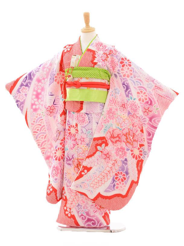 七五三レンタル(7歳女の子結び帯)7180 花てまり総絞り/