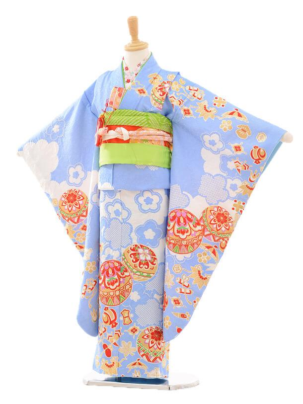 七五三(7歳女児袋帯)正絹7185 滝泰 慶長絞り 雲取り模様に梅 水色